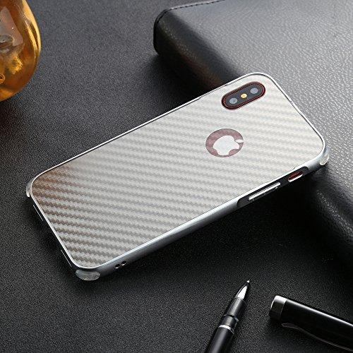 UKDANDANWEI Apple iPhone X Hülle,Ultra Dünn Carbon-Faser Metall Zurück Case Cover mit Hard Bumper Schutz[Kratzfeste Stoßdämpfende] Überzug Aluminium Handy Tasche Schale für Apple iPhone X - Grau Grau