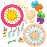Baker Ross AW601 Wooden Dream Catcher Kit, Dreamcatchers for Kids to Make, Personalise and Display for Arts and Crafts Activities (Pack of 4)