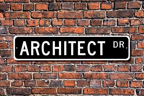 Aersing Placa Decorativa para árbol con Letrero de Arquitecto para Regalo, para Arquitecto o Amigo, de Metal y Aluminio, para Decorar la Pared