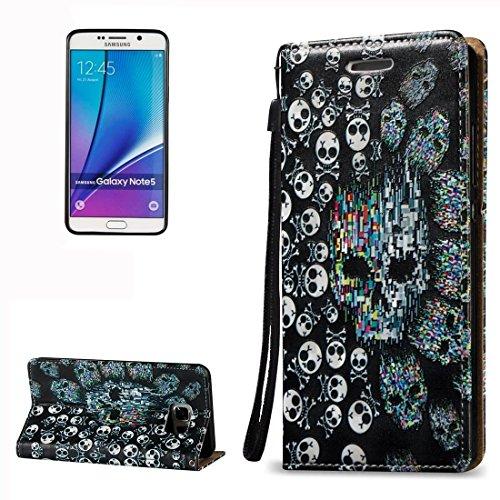 Mobile Schutzhülle, für Samsung Galaxy Note 5/N9203D Relief Totenkopf Muster horizontale Flip Leder Case mit Halter & Card Slots & Lanyard Umweltfreundlich Sas0273a