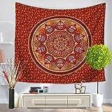 Mandala Hippie Bohemia Rechteck Polyester Deko Multi Verwendungszweck für Badetuch Schutzhülle Bettuch Tischwäsche Decke und Vorhang Wandteppich Wand Kunst Muster Dunkelorange 150x130cm