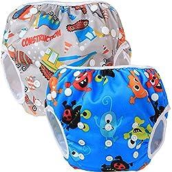 Teamoy Swim pañales para bebés (2 Pack) pañal de tela cubierta Calzones de entrenamiento para los muchachos y las muchachas, Construcción y Feliz Noche