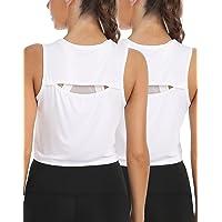 CARCOS Femmes Workout Top Summer Tank Top Femmes Yoga Crop Top Sports Short Tank Summer Crop Top pour Yoga Fitness Noir…