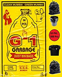 G-1 300 pcs - 19X21 Medium Size Black Disposable Garbage Trash Waste Dustbin Bags of 54cm x 48cm