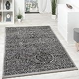 Paco Home Designer Teppich Kurzflor Klassische Ornamente Mosaik Stein Optik Grau Silber, Grösse:200x280 cm