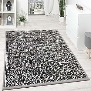 paco home designer teppich kurzflor klassische ornamente mosaik stein optik grau silber gr sse. Black Bedroom Furniture Sets. Home Design Ideas