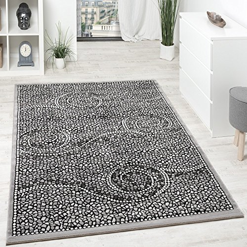 Designer Carpet Low Pile Classical Ornaments Mosaic Stone Look Grey Silver, Size:80x300 cm