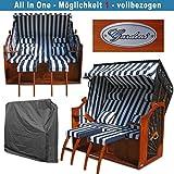 XXL Ostsee Strandkorb blau – schwarz gestreift kaufen # wechselbare Bezüge # inkl. Schutzhülle # 135cm breit - 3