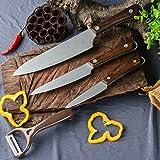 Juego de Cuchillos de Cocina, Homino 4 Piezas Cuchillos de Cocinero, Hoja de Acero Inoxidable, con Cuchillo de...