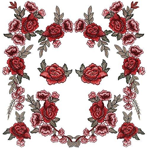 Rosen Stickerei (Rovtop 12 Stück Aufnäher Rose Blume Stickerei Applikation Patches für Dekor T-Shirt Jeans Hut)