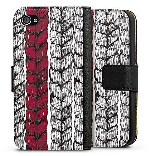 Apple iPhone X Silikon Hülle Case Schutzhülle Zopf Grafik marenkruth Sideflip Tasche schwarz