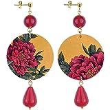 in Lebole Collezione The Circle DOR39 Fiore Rosso Orecchini da Donna in Ottone Pietra Rubino