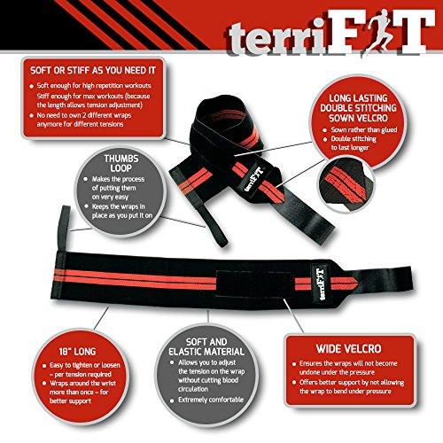 Weight-Lifting-Wrist-Wraps-by-terriFIT-46-cm-Medium-Duty-with-Thumb-Loop-CrossFit-Weightlifting-Workout-Protection-Pair-of-Two-Wraps-Men-and-Women