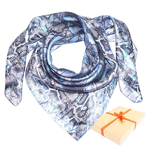 Snake Print Foulard Scarf in Shades of Blue - Italian Pure Silk in a Gift Box (Snake-print Schal)