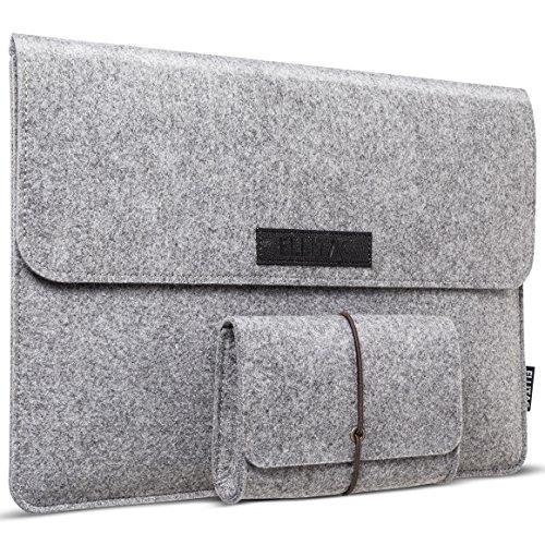Ellitac Schutzhülle Tasche für Apple 13,3 Zoll Macbook Air / Pro Retina, 12,9 Zoll iPad Pro Filz Sleeve Hülle Ultrabook Laptop Tasche Schale Farbe: Grau