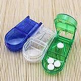 ONEVER Portapillole, custodia da viaggio portatile Pillola vano portaoggetti Custodia con taglierina