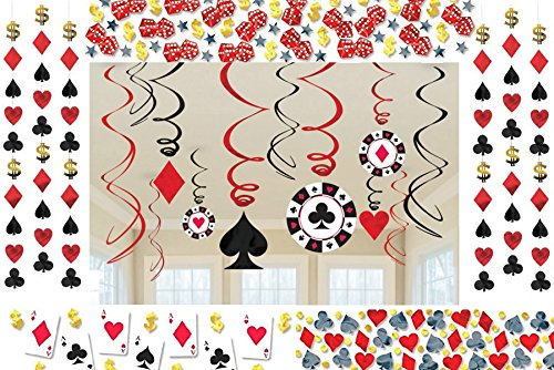 Casino Party Dekoration Deko-Set Poker Las Vegas Girlande Konfetti Kartenspiel