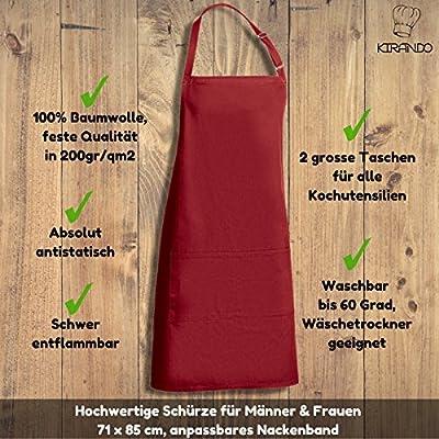 KIRANDO - Hochwertige Baumwoll-Schürze zum Kochen & Backen - Feste 200gr/m2 Qualität - antistatisch - 60 Grad waschbar - Küchenschürze - Latzschürze - Grillschürze - Kochschürze
