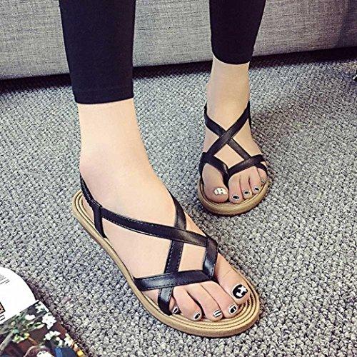 OverDose Damen Frauen flache Schuhe Bandage Bohemia Freizeit Lady Sandalen Peep-Toe Outdoor Schuhe Schwarz