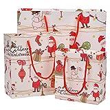 Mogoko 12x Weihnachten Geschenktüten Weihnachtsgeschenk Taschen mit Griffen Papiertaschen Papiertüten Partytüten Geschenktüten (4*Klein+4*Mittel+4*Groß)
