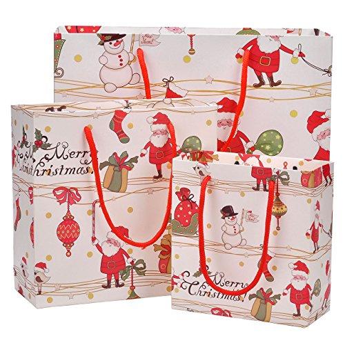 en Geschenktüten Weihnachtsgeschenk Taschen mit Griffen Papiertaschen Papiertüten Partytüten Geschenktüten (4*Klein+4*Mittel+4*Groß) ()