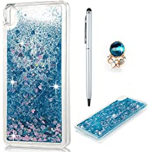 Sony Xperia E5 Case Cover Premium TPU Silicon Phone Case 3D Glitter Quicksand Shockproof Protective Case Holder Floating Liquid Clear Flexible Silicone Shiny Stars Hearts Bumper Backcover for Sony Xperia E5 Blue