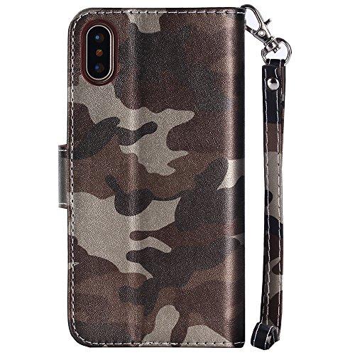 iPhone 6 6s 7 Plus Samsung Galaxy S7 Edge S8 + Plus Case Hülle Kunst Leder Brieftasche mit Kreidt Karten Fächer Geldscheinfach Premium Börse Tasche Handy Schutzhülle,4 Farben Braun