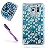 Samsung Galaxy S7 Hülle,Samsung Galaxy S7 Case,Galaxy S7 Hülle,EMAXELERS 3D Kreative Silber Blau Liquid Fließen Flüs