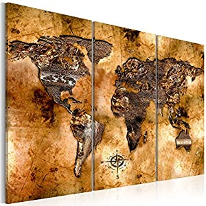 murando Weltkarte Pinnwand & Vlies Leinwand Bild 60×40 cm Bilder mit Kork Rückwand 3 Teilig Kunstdruck Korktafel Korkwand Memoboard Pinboard Wandbilder Karte Landkarte k-A-0050-p-f