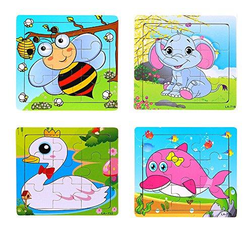Set von 4 reizende Tier-Puzzles Kinderspielzeug (Bestimmte können variieren)