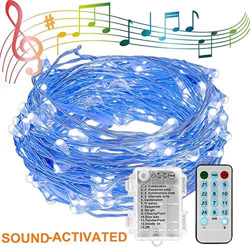 etten, 10M 100LED Musik Lichterketten Kupferdraht LED-Leuchten mit Sound Aktiviert Musik-Sync-Licht Wasserdicht 12 Modi Dekorative Batterie ()