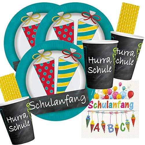 Amscan/Hobbyfun 68-teiliges Party-Set Schulanfang - Teller Becher Servietten Trinkhalme für 16 Personen