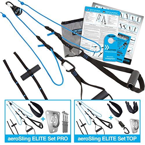 aeroSling ELITE Set TOP, Schlingentrainer mit Umlenkrolle, Hochleistungs Slingtrainer mit Fitness DVD, Poster, Türanker