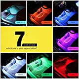 #6: Multi-Color 8 Color Music LED Car Interior Underdashboard Lighting Kit Sound Activated IR Remote Control Atmosphere Lamp with Car Charger