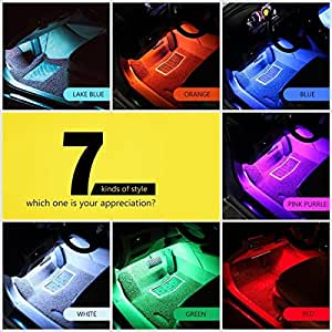 Multi-Color 8 Color Music LED Car Interior Underdashboard Lighting Kit Sound Activated IR Remote Control Atmosphere Lamp with Car Charger