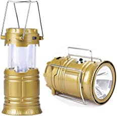 SUNAM Rechargeable Travel Camping Lantern LED Solar Emergency Light with USB Mobile Charging and Torch (Assorted Colors: Brown, Black, Golden, Blue)