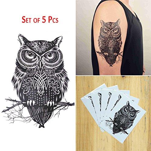 COKOHAPPY 5 Blätter Temporäre Tattoo Groß Tattoo Eule Keltisch Tattoo (Niedliche Halloween Kostüme Teens)