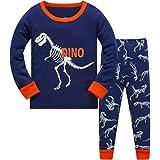 DAWILS Pijama para Niños de Dinosaurio Pijama Dos Piezas Manga Larga Niño Ropa de Algodón Traje Dos Set 2-8 Años