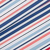 Sehr schöner Baumwollstoff mit blauen und roten Streifen auf weiß Jocy Stripe von Hilco - Öko-Tex