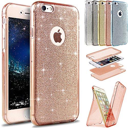 Kompatibel mit Hülle iPhone 6S Plus/6 Plus Hülle,Full-Body 360 Grad Bling Glänzend Glitzer Durchsichtige TPU Silikon Hülle Handyhülle Tasche Front Cover Schutzhülle für iPhone 6S Plus/6 Plus,Rose Gold