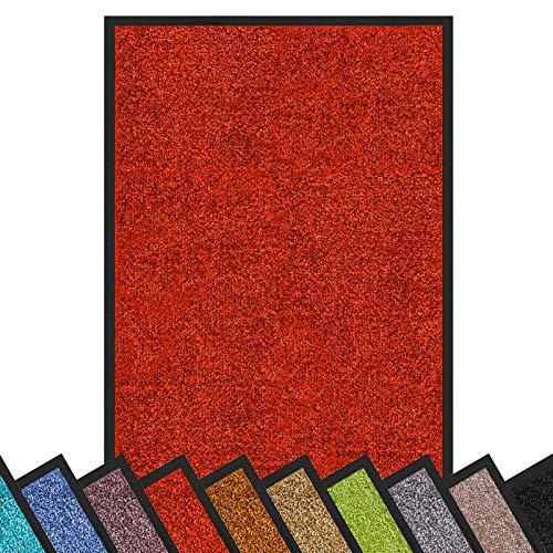 Schmutzfangmatte Rhine | schadstoffgeprüft | waschbare & extra leistungsstarke Fußmatte | Sauberlaufmatte mit Rutschfester Rückseite | Türmatte in vielen Größen & Farben (90x150 cm, Rot)
