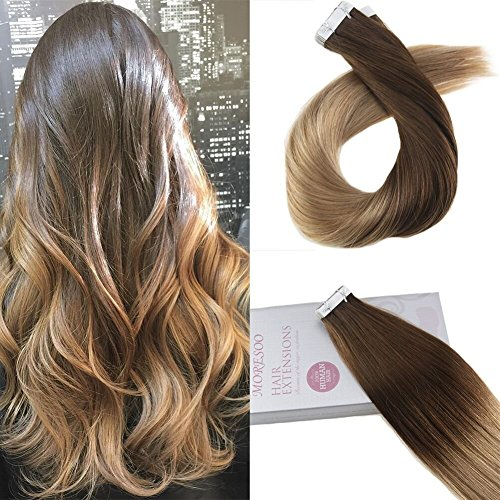 Moresoo 14pollice/35cm extension capelli veri adesive marrone #4 to bionda #27 100% capelli veri tape in extensions skin weft human hair extensions 20 pcs/50g