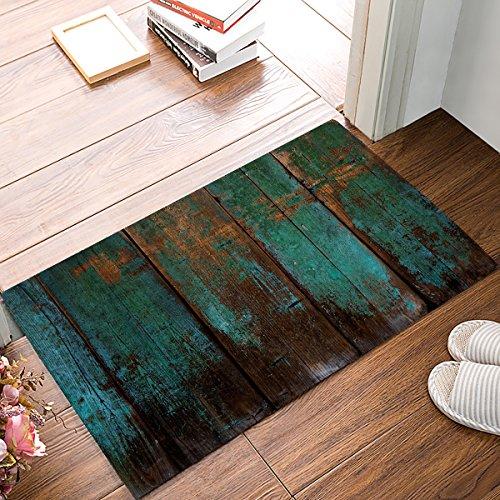 Possta Decor Rustikal Old Barn Holz Blau Grün Vintage Fußmatten Küche Boden saugfähiges Bodentuch Eingang Teppiche für Innen-Badezimmer Decor Fußmatten Gummi Rutschfeste 19.7x31.5Inch(50x80cm)