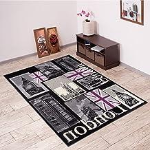 Alfombra De Salón Moderna – Color Negro Púrpura De Diseño Monumentos de Londres – Suave – Fácil De Limpiar – Top Precio – Diferentes Dimensiones S-XXXL 200 x 300 cm