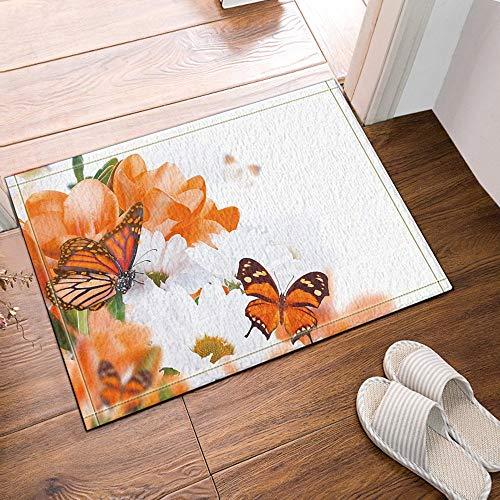 MMPTn Die bunten Schmetterlinge die Nektar von den Blumen sammeln Badeteppiche rutschfeste Bodeneingänge Outdoor Indoor Haustürmatte 16 x 24 Zoll Badematte