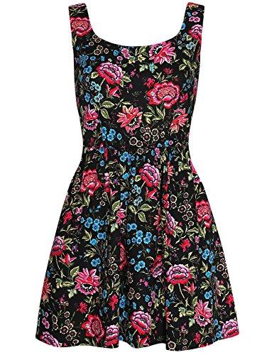 oodji Ultra Femme Robe Imprimée Coton Noir (294DF)