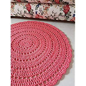 Gehäkelter Teppich Häkelteppich Mandala Koralle Farbe Runderteppich 90 cm