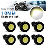Teguangmei 6Pcs High Power 9W 18mm White Eagle Eye LED Light for Car Motorcycle DRL Daytime Running Light Tail Backup…