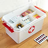 SHOPPOSTREET First Aid Box Lockable Medicine Storage Box Plastic Emergency Cabinet Organizer with Detachable Tray and Handle