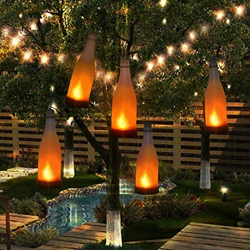Mixtooltoys 5PCS Solarbetrieben Kork Weinflasche LED Hängende Lampe Flammeneffekt Flasche für Außen dekoration Garten Innenhof Terrasse Spazierweg -